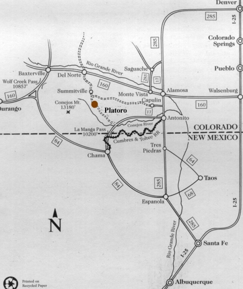 [Map to Platoro Valley Lodge & Cabins]
